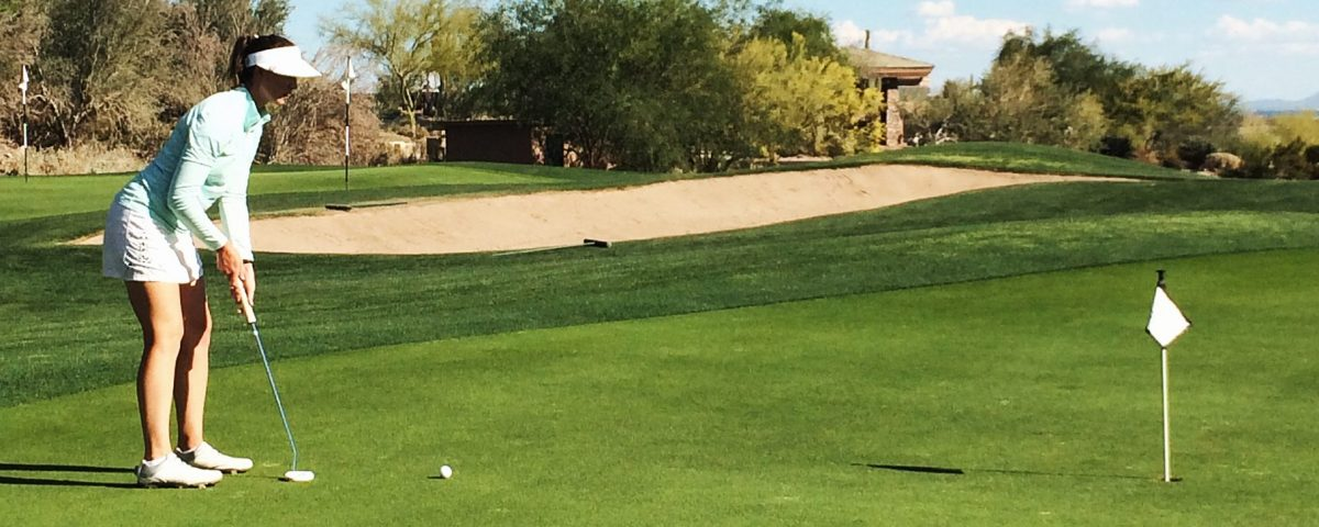 Armana Christianson using the 1 Swing Golf putting tips to improve her short game.